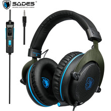 SADES R3 PS4 Gaming Headset Bass Surround Stereo Over Ear PC Game Headphones with Mic Big Earmuffs for Ps4 Xbox one Laptop Phone