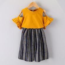 Toddler Kids Baby Girl Clothes Off Shoulder T shirt Tops Bohemian Pants 2PC Fashion Set