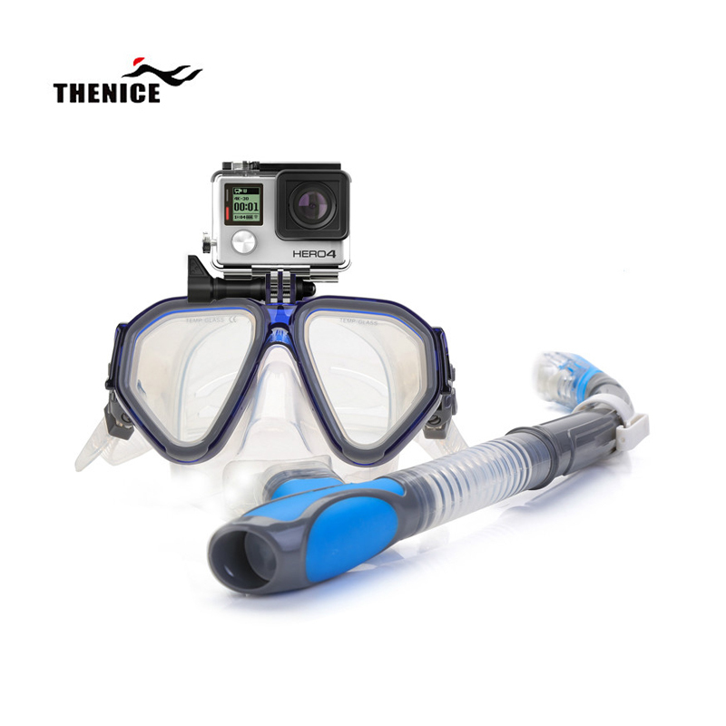 THENICE Professionnel masque de snorkeling Lunettes Équipement De Natation Tube de Respiration Anti-brouillard Adulte Enfants