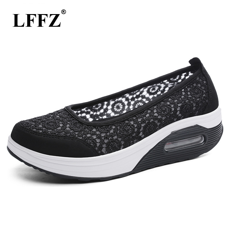 LFFZ 2018 New Summer Lace Breathable Women 's Bottom Rocking Shoes Leisure Mesh Women Sneakers Hollow Sponge Shoes JH117 summer lazy white shoes women 2018 new korean version joker hollow breathable cloth shoes mesh shoes
