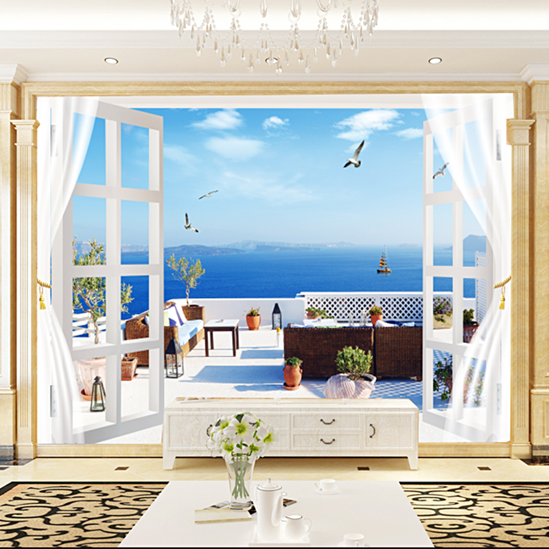 Custom 3D Photo Wallpaper Seascape Beach Palm Wall Covering Mural Wallpaper Living Room Bedroom Background Wallpaper Room Decor book knowledge power channel creative 3d large mural wallpaper 3d bedroom living room tv backdrop painting wallpaper