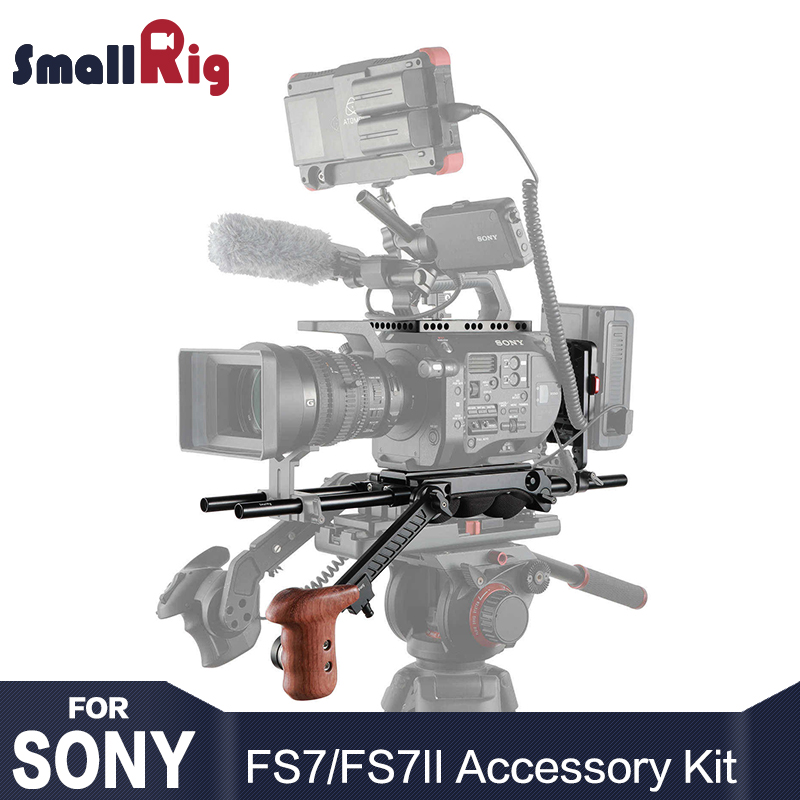 SmallRig Professional Accessory Kit for Sony FS7 / FS7II 2045 with V Lock Plate Extension Arm Wooden Hand Grip 15mm Rod LWS