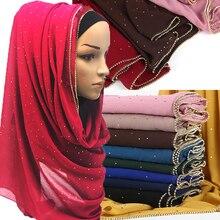 1 pc 고체 hijab 스카프 골드 체인 이슬람 스카프 일반 거품 쉬폰 크리스탈 스카프 shawls 패션 머리띠 긴 스카프를 래핑