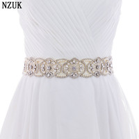 S296 Crystal Rhinestones Bride Evening Party Gown Dresses Accessories Wedding Sashes Belt Waistband Bridal Belts Sashes