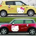 Whole envío libre auto car sticker puerta pegatinas de dibujos animados encantadora Hello Kitty cats 2 pieza materiales Impermeables de pvc pegatinas