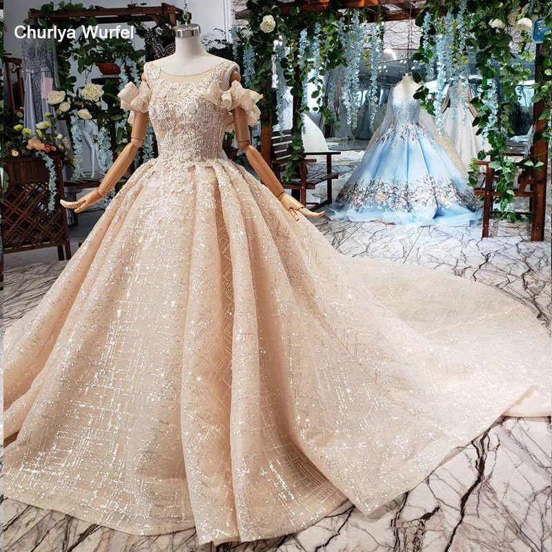 HTL446 princess wedding dresses with train o-neck special off shoulder sleeves appliques bridal gowns vestidos de novia 2019