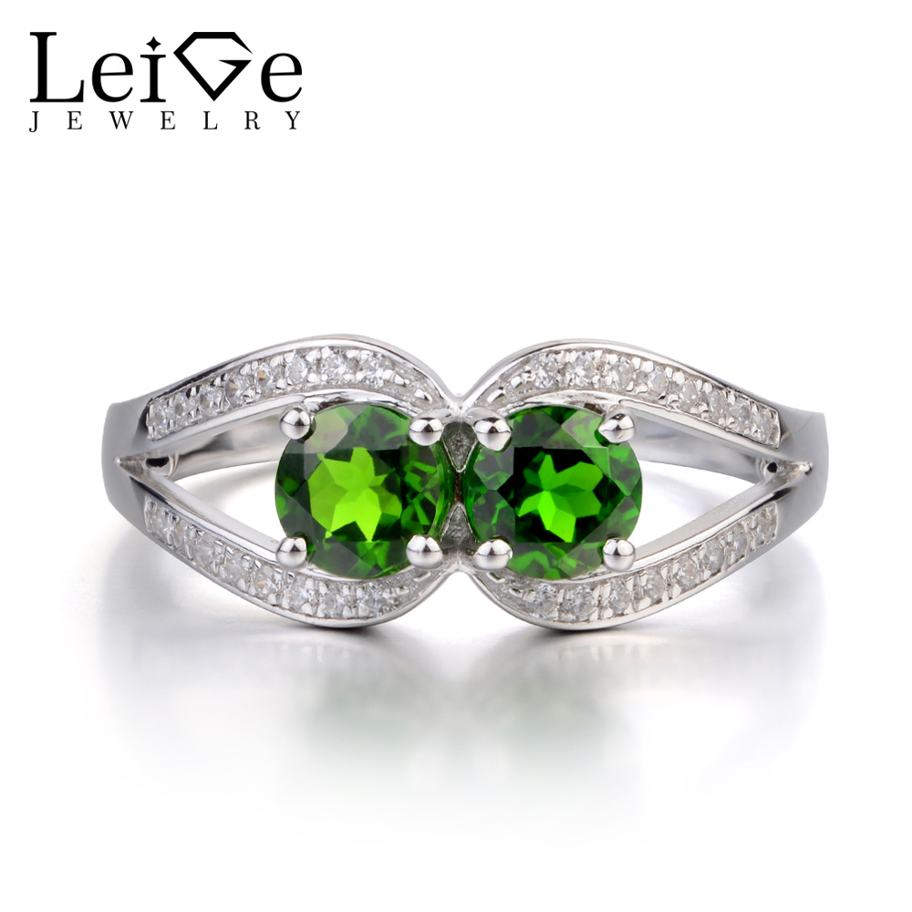 Leige Jewelry Genuine Chrome Diopside Ring Double Stone Wedding Engagement Ring Sterling Silver 925 Fine Jewelry Round Cut