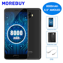"Oukitel K8000 5.5 ""HD Mobile Téléphone MTK6750T Octa base Android 7.0 4 GB RAM 64 GB ROM Smartphone 8000 mAh 16MP Double Arrière caméras 4G"