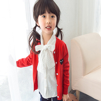 New 2016 Children's Sweaters Kids Girls Cardigans Embroidered Knitted Coats for The girl embroidered knit cardigan
