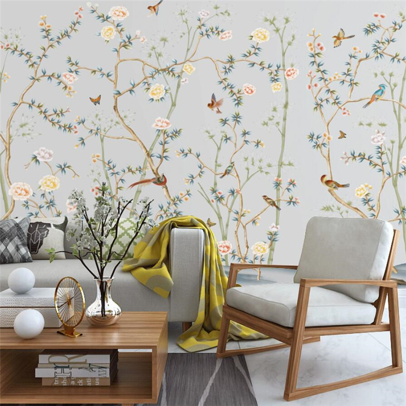 Beibehang Papier Peint Customized Large Wallpaper 3d Photo Mural Wall Papers Home Decor Hand-painted Flowers And Birds Wallpaper