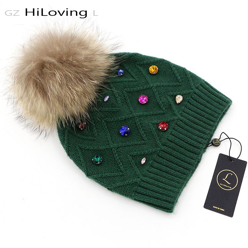 GZHilovingL New Women's Winter Beanie Hats With Fur Ball Fur Pompom Hats Casual Wool Hats With Diamond For Women Ladies 4pcs new for ball uff bes m18mg noc80b s04g