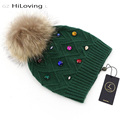 GZHilovingL New Women's Winter Beanie Hats With Fur Ball Fur Pompom Hats Casual Wool Hats With Diamond For Women Ladies