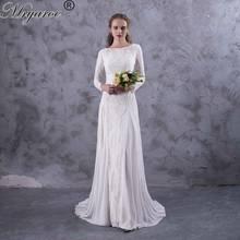 8d69f84be Mryarce exquisito encaje manga larga espalda descubierta vestidos de novia  2017 Boho Chic vestido de novia