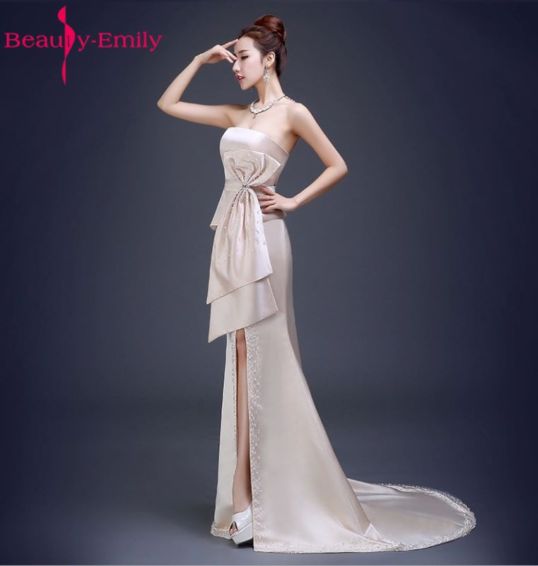 Beauty Emily Stain Luxury Beads Sexy Mermaid Evening Dresses 2018 Strapless Long Party Prom Dresses Plus Size Party Gowns