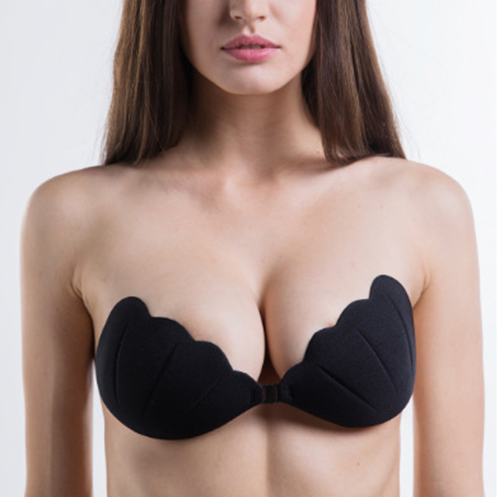Womens Invisible Strapless Self Adhesive Push Up Silicone Bras with Drawstring
