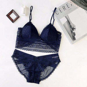 Image 3 - 4 colors Sexy lace 3/4 cup thin cotton women wire free bra and panty set transparent female underwear lingerie girls sleepwear