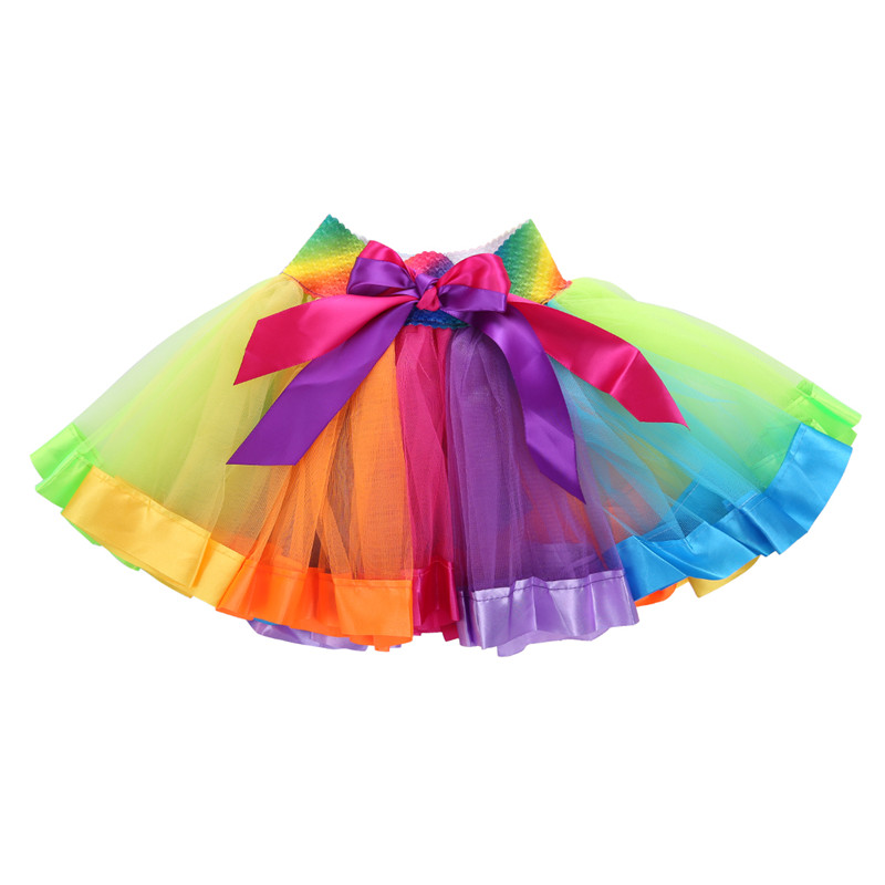 Kid Girls Rainbow Dress Baby Color Striped Printed Strap Skirt Ruffle Swing Princess Dresses
