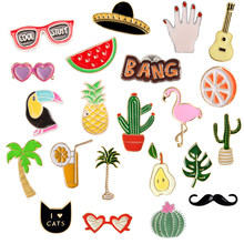 Bargain price Wholesale Pins Flamingo Cactus Pineapple Guitar Toucan Orange Juice Palm tree Badge Enamel Pins Brooches for kids(China)