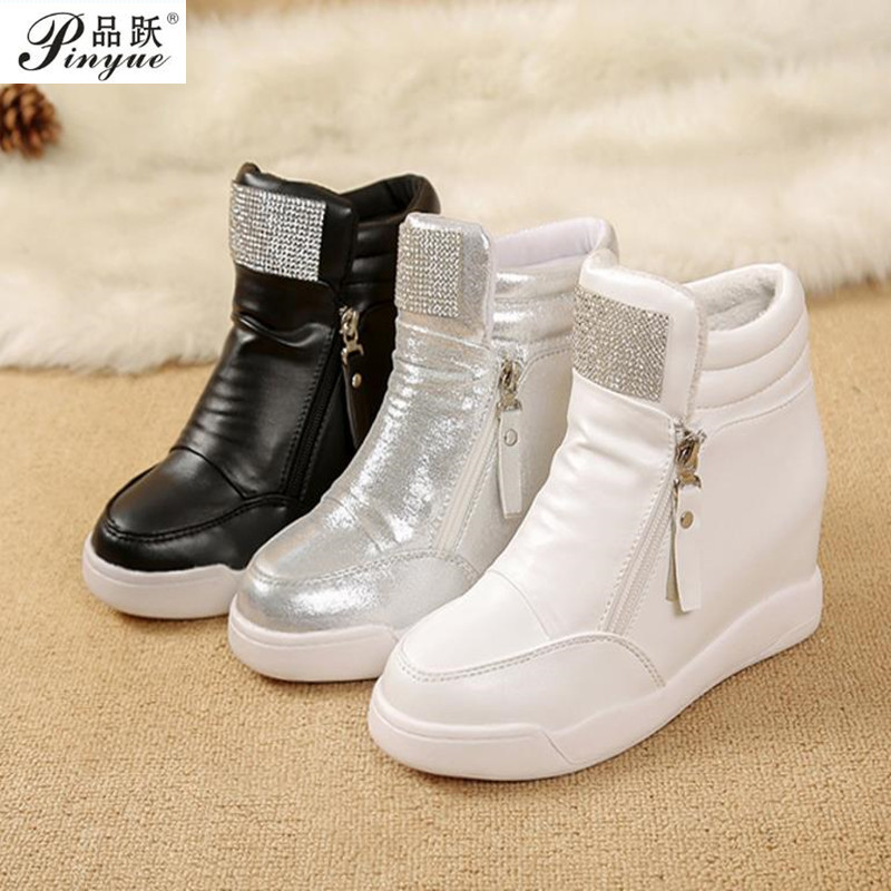 2018 Hot Sale New Wedge Shoes Hidden Heels Womens Elevator Casual For Women With Zipper Black White Silver Rhinestone 35--40