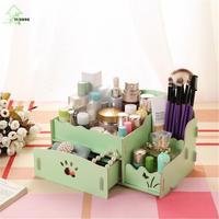 YH Fashion Mini 2 Drawers Wooden Make Up Storage Box Pencil Wooden Stationery Storage Box Desktop