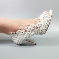 2018 Yeni geliş Bayan ayakkabı weddding Gelin Beyaz Dantel ayakkabı kadın Yüksek topuklu Pompalar Peep Toe Platform ayakkabı Gelinlik yüksek