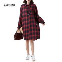 ARCSINX Big Size Women Shirt Dresses 5XL 6XL 7XL 8XL 9XL 10XL 2017 Autumn Long Sleeve