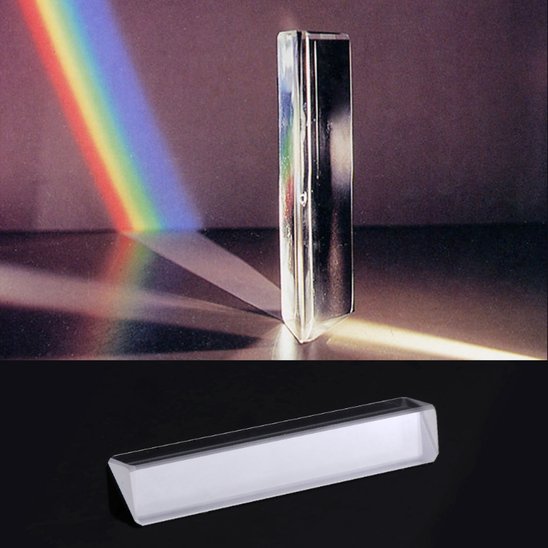 OOTDTY Triangular Color Prism Optical Right Angle K9 Material Students Experimental Equipment