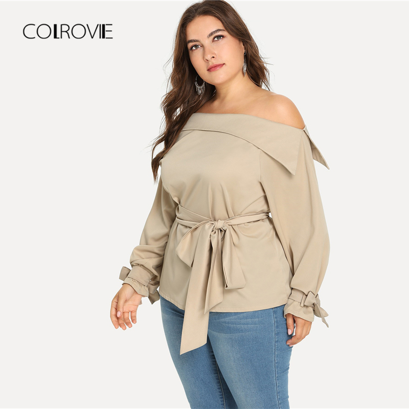 16a21822f06a2 COLROVIE Plus Size Apricot Work Knot Long Sleeve Blouse Shirt Women Clothes  2018 Autumn Streetwear Womens Tops And Blouses-in Blouses   Shirts from  Women s ...