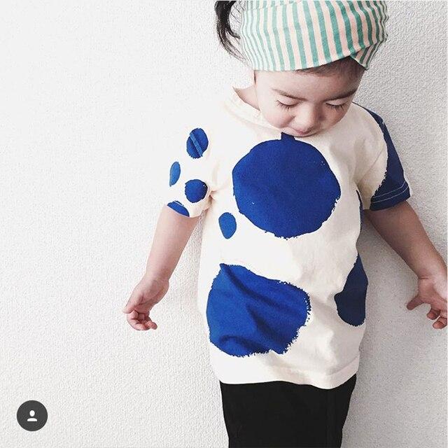 Дети майка девушки 2016 новые новорожденных девочек мальчиков майка горошек девушки футболки с коротким рукавом из хлопка мальчиков девушки летней одежды 2 - 5 т