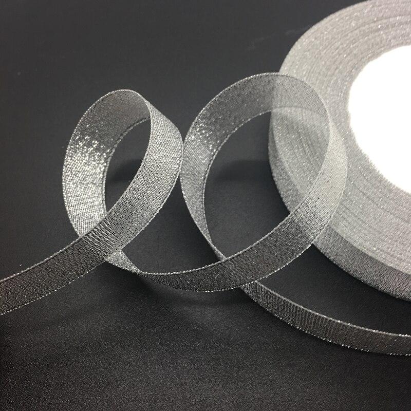 Мм 50 ярдов/рулон 5/8 «15 мм серебро органзы ленты лук свадебные украшения кружево ремесла