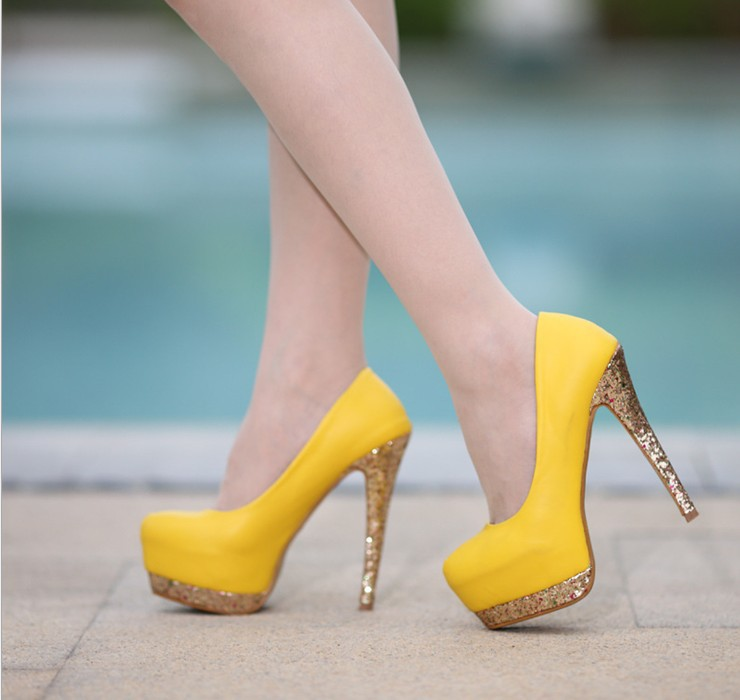 ff270382097 Free Shipping Hot 2014 fashion yellow bottom platform lady ultra high heels  woman sexy pumps and women s summer autumn shoes
