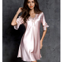 Ultra Thin Silk Pajamas Sexy NightDress Womens Nightgown Large Size M XL XXL Lingerie Loose Home