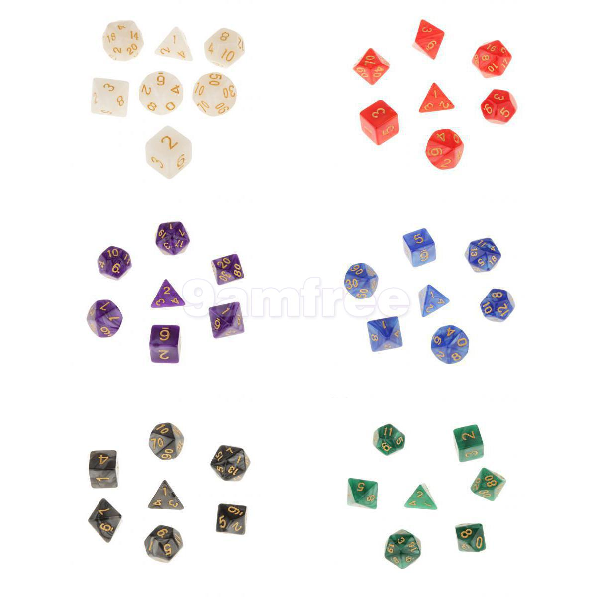 Acrylic Polyhedral Dice 16mm for Dungeons and Dragons DND MTG Table Games White/Red/Purple/Blue/Black/Green