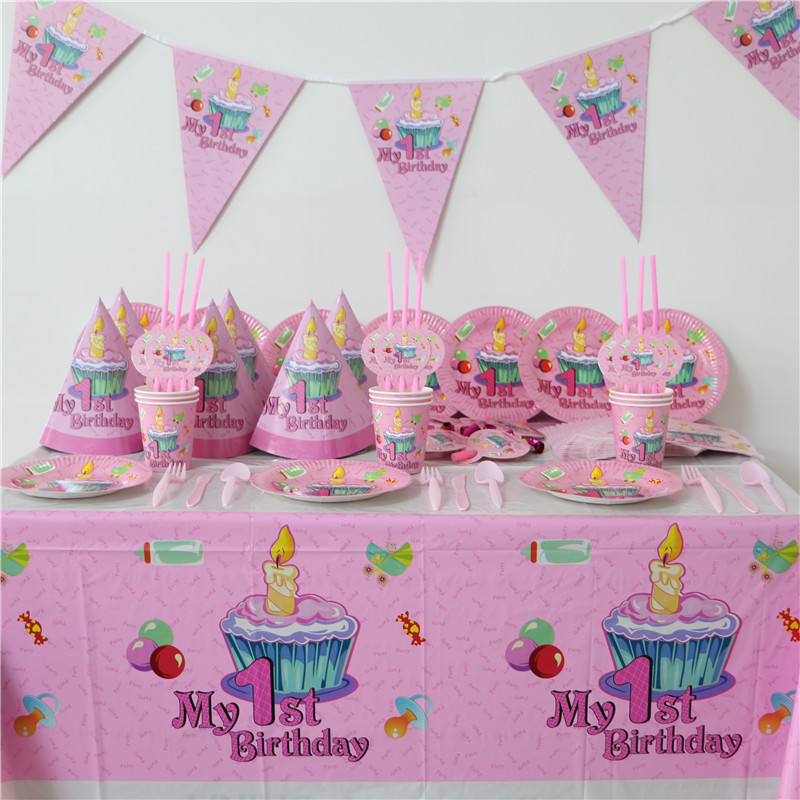 86pcs Luxury Kids Birthday Decoration Set My 1st Theme Party Baby Happy Girls Shower Supplies Favor