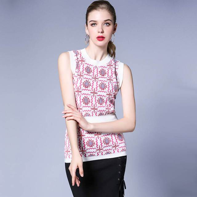 women basic tops tees knitted flower elastic pink color