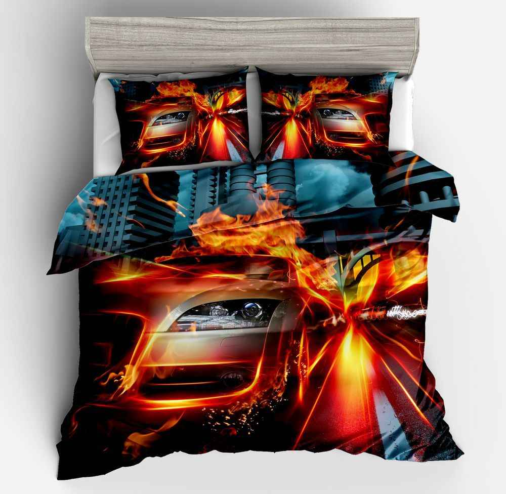 3D Racing car printing bedding set for kids boy room duvet cover set Pillowcases comforter bedding set twin bedclothes bed linen