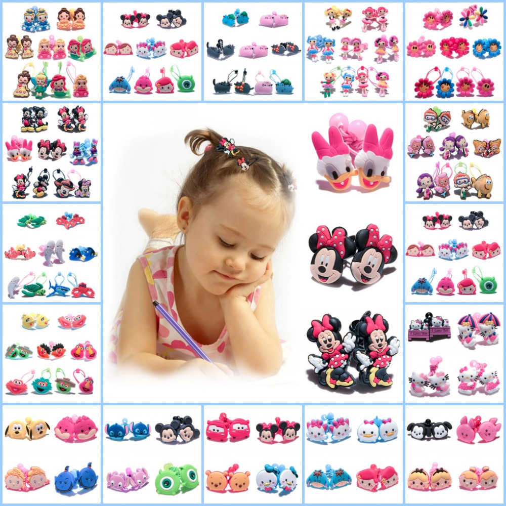 1Pairs Mickey Hairbands Lovely Girls Barrettes Kids Headwear Multicolor Hair Ropes Sweet Hair Accessories Hair Ornaments