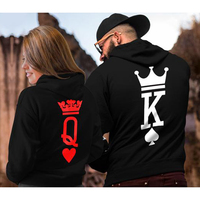 King Queen Hoodies Couple Sweatshirts Mens and Womens Cotton Lovers Pullover Sweatshirts