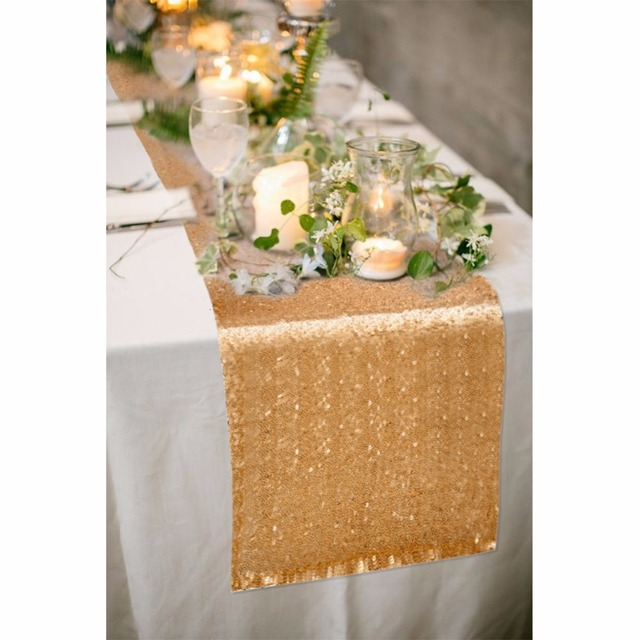 Ourwarm 5pcs 30x275cm Sequin Table Runner Gold Silver Modern Runners For Wedding Christmas Decoration