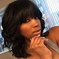 Short Wave Glueless Full Lace Human Hair Wigs with Bangs Brazilian Virgin Hair Lace Front Wigs For Black Women Natural Baby Hair