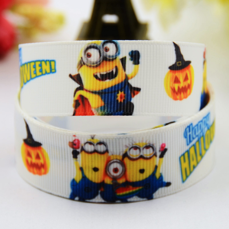 Minions Halloween Cartoon Character Printed Grosgrain Ribbon Party Decoration Satin Ribbons X-00484 10 Yards Neither Too Hard Nor Too Soft 22mm Smart 7/8