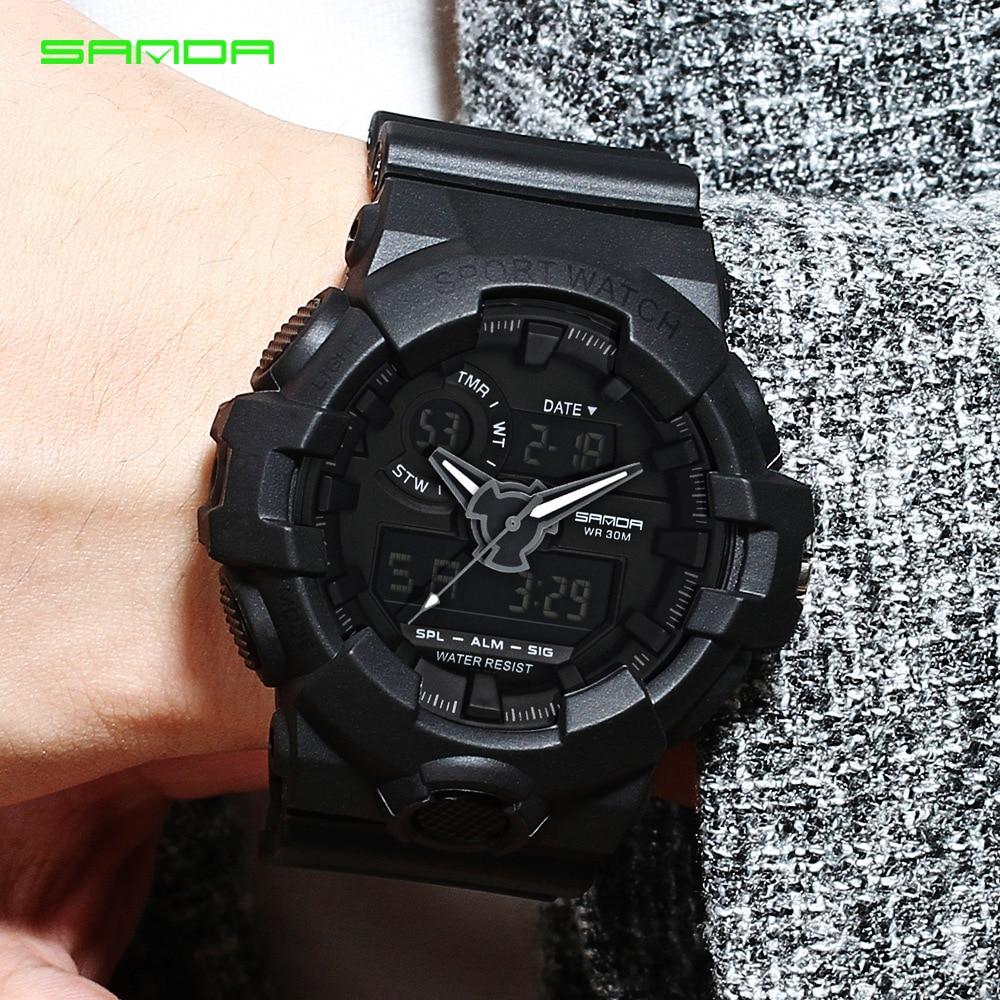 SANDA reloj hombres Impermeable Militar Reloj Deportivo Led Digital - Relojes para hombres