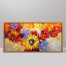 100% Hand Painted Abstract Sunflowers Oil Painting On Canvas Wall Art Wall Adornment Pictures Painting For Live Rooms Home Decor 100% hand painted abstract morden feathers art oil painting on canvas wall art wall adornment pictures for live rooms home decor
