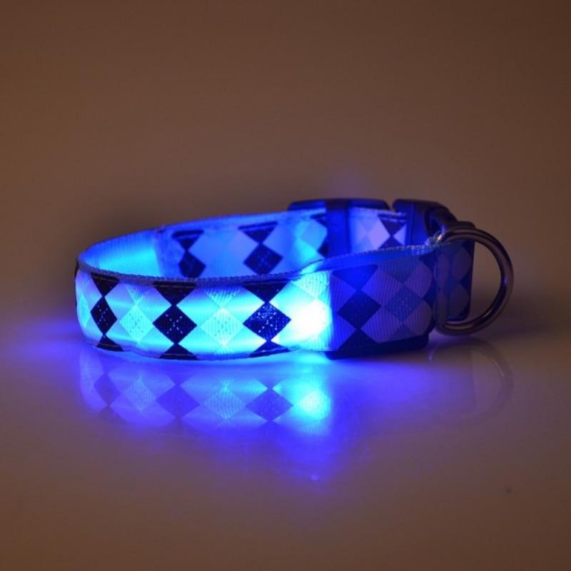 Pets Dogs Lovely Night Safety Rhombus Pattern Collar Light Night Up Nylon LED Adjustable Collars S M L XL