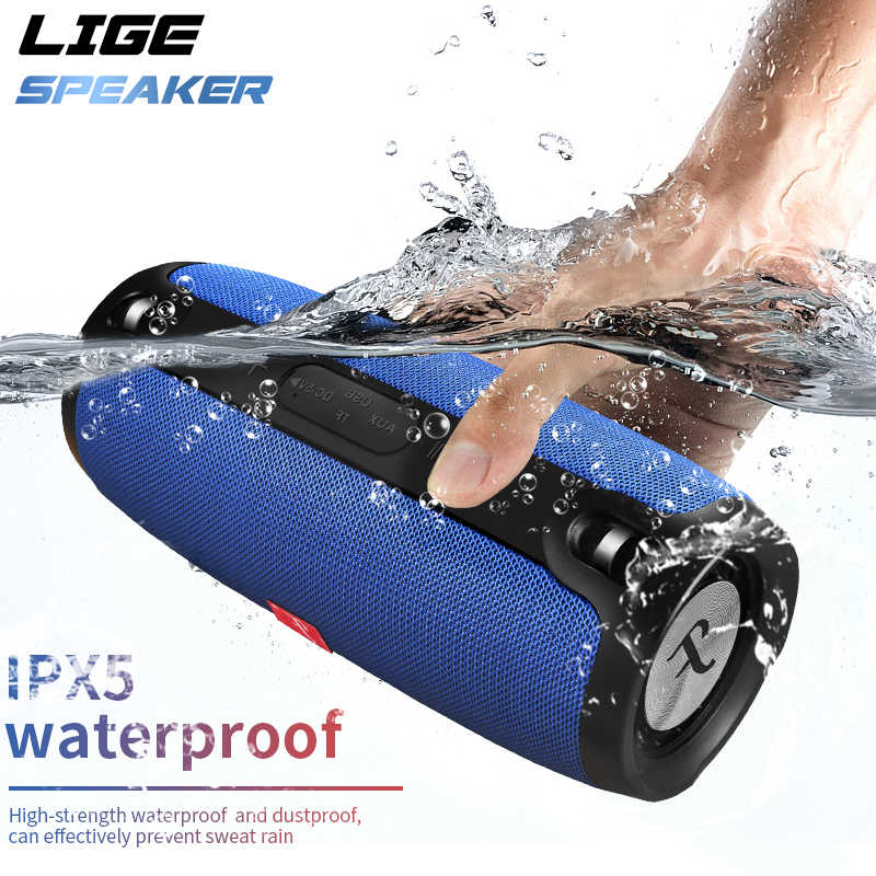 Bluetooth speaker 20w stereo bass Waterproof portable Outdoor wireless Column Loudspeaker Support TF Card FM Radio  AUX Input