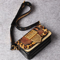 2017 leopard pattern women handbag genuine leather shoulder bag small real leather ladies shoulder bags womens waist bag