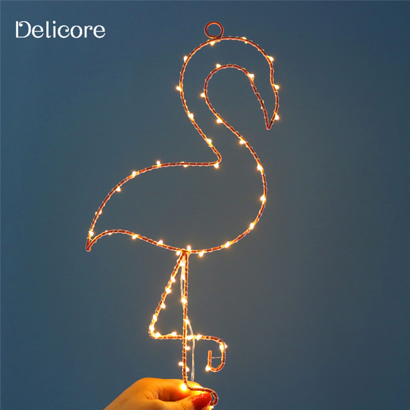 DELICORE Novelty Metal Flamigo Night Light Children's Bedroom Nursery Night Lamp Mini Star Light Emitting Kids Room Decor S123 novelty smile face rainbow led night lights battery night lamps for baby room nursery living room decor kids christmas gifts