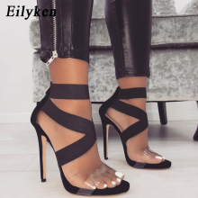 Eilyken New 2021 High Quqlity Women Sandals Open Toe Stiletto High Heels Summer Ladies Party Stretch Fabric Sandal Shoes