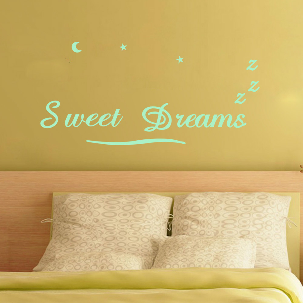 Funlife Sweet Dream Bedroom Wall Quote Saying Letter,Glow in the ...