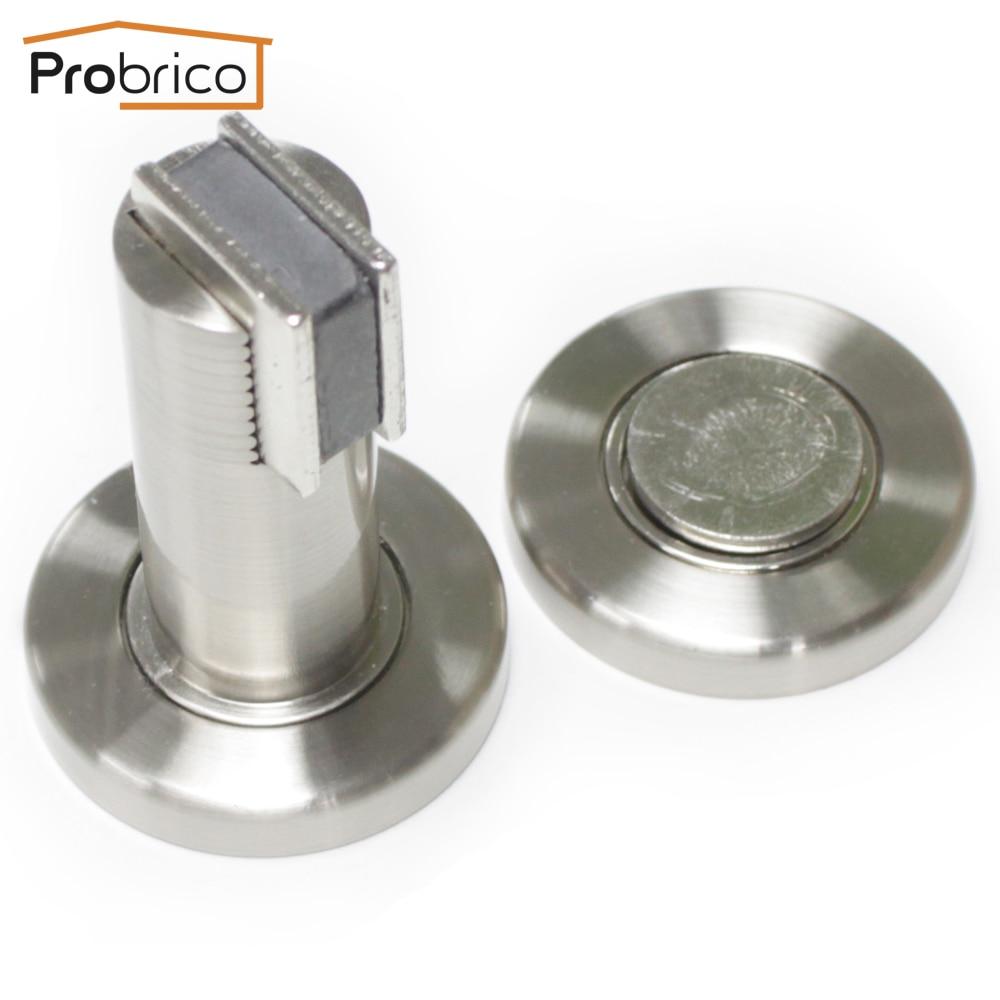 probrico heavy duty door stop dshh101sn satin nickel metal wallmounted door holder floor